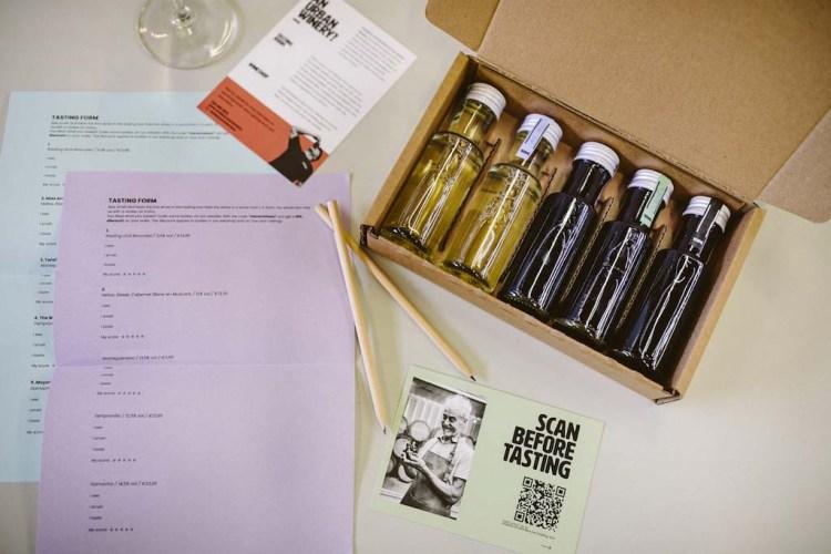 Pakket kleine flesjes online wijnproeverij